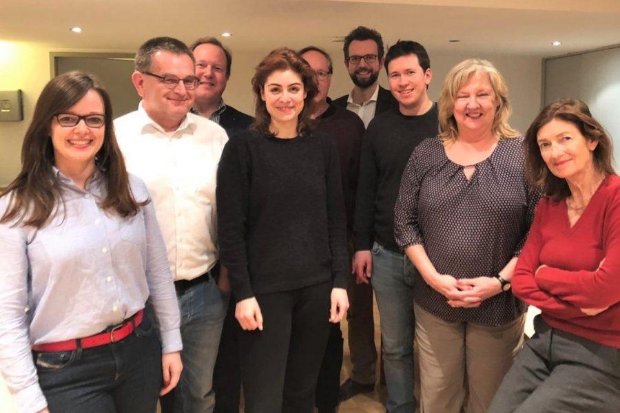 Vorstand der ASJ (v. l. n. r.): Hanna Meyer, Stefan Rolletschke, Björn Seelbach, Magdalena Möhlenkamp, Heiner Beine, Karl Philipp Schmal, Martin Stößel, Susanne Sicher, Gisela Becker